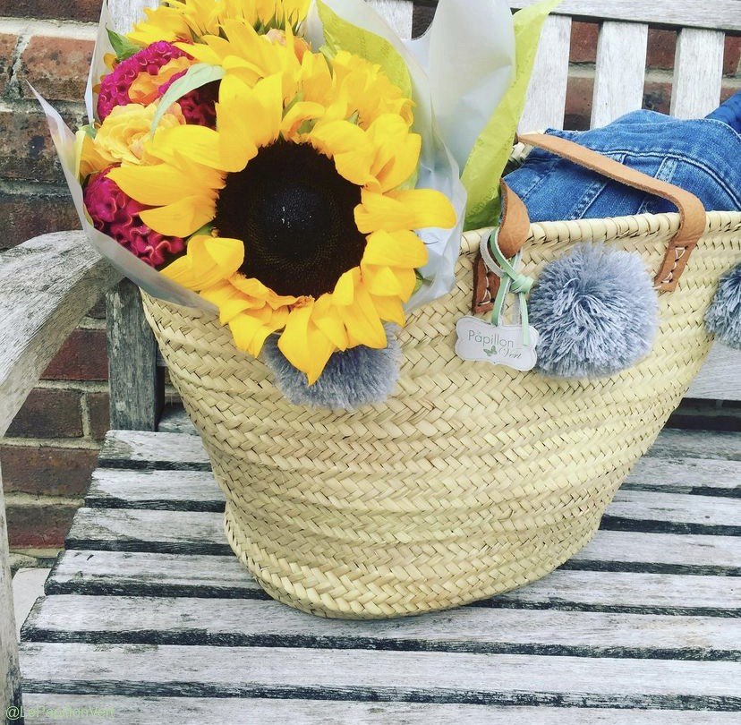 Pom Pom Basket packed for a party